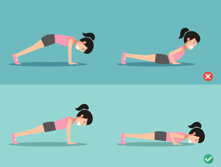 young woman legs up: wrong and right push-up posture,vector illustration Illustration