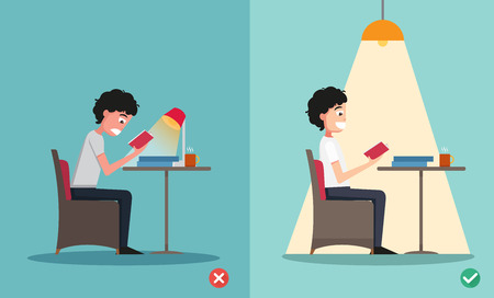 wrong and right for proper lighting in the room illustration