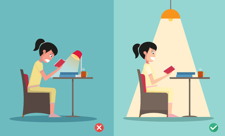bad eyes: wrong and right for proper lighting in the room illustration