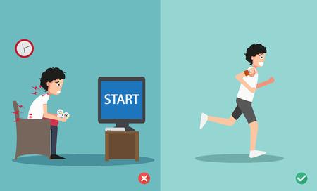 buena postura: mal parada y derecha para jugar juegos de video '' demasiado tiempo '' ejemplo, vector
