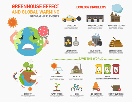 deforestacion: El efecto invernadero y el calentamiento global infographics.illustration.