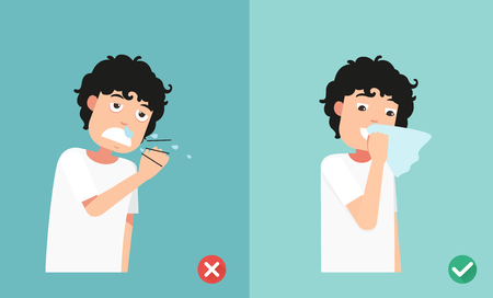 Right and wrong sneezing in hand and handkerchief,illustration. Illustration