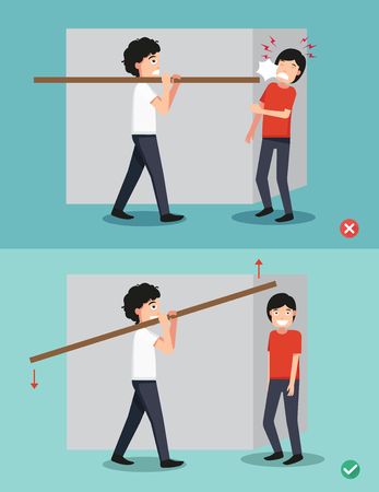 craftsperson: Right and wrong carrying a piece of wood on his back,illustration. Illustration