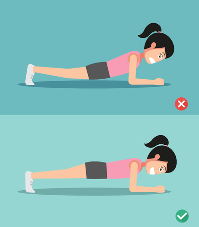planking: wrong and right plank posture, illustration