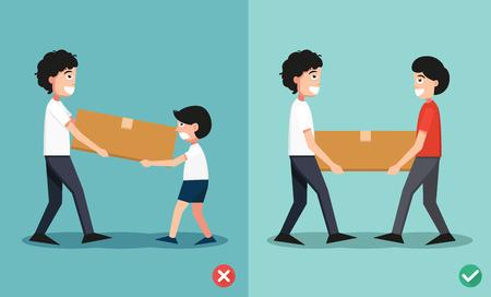 bad accident: Improper versus against proper lifting ,illustration Illustration