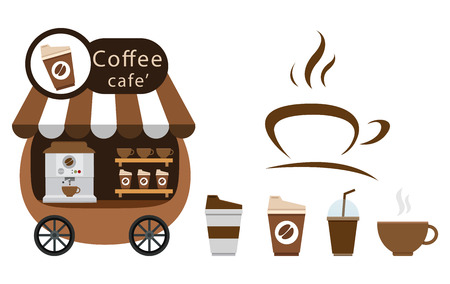 cart stall and coffee icon illustration