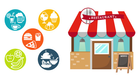 awnings: restaurant and food icon illustration