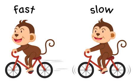 slow: Opposite words fast and slow illustration Illustration