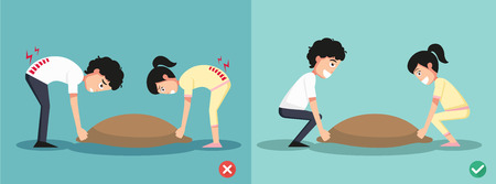 injuring: Improper versus against proper lifting ,illustration Illustration