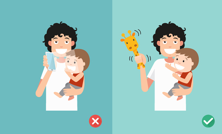 stress test: Wrong and right ways playing with kids. Smartphone may affect social and emotional development. illustration.