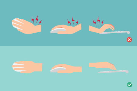 wrong and right ways for hand position in use keyboard and mouse illustration  イラスト・ベクター素材