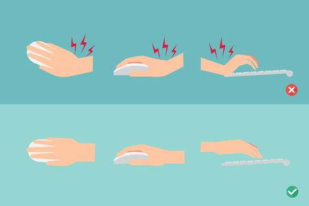 키보드 및 마우스 그림 사용에서 손 위치에 잘못하고 올바른 방법 일러스트