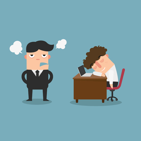idling: The guy is sleeping behind his desk while angry director is standing,illustration Illustration