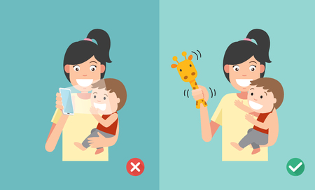 affect: Wrong and right ways playing with kids. Smartphone may affect social and emotional development. illustration.