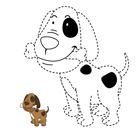 join: Illustration of educational game for kids and coloring book vector-dog