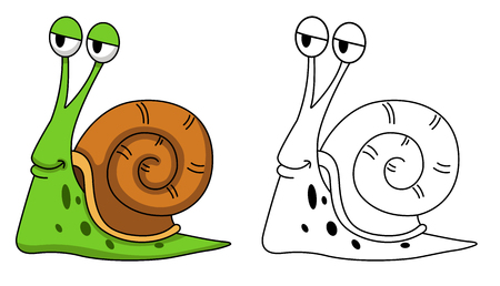 Illustration of educational coloring book vector-snail