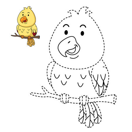 Illustration of educational game for kids and coloring book vector-bird