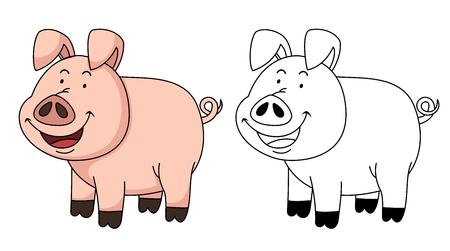 educativo: Illustration of educational coloring book vector-pig