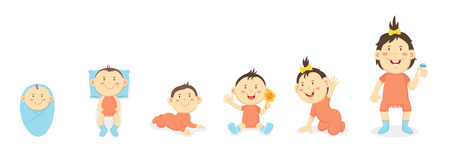 desarrollo físico del niño menor de 1 año, ilustración vectorial Ilustración de vector