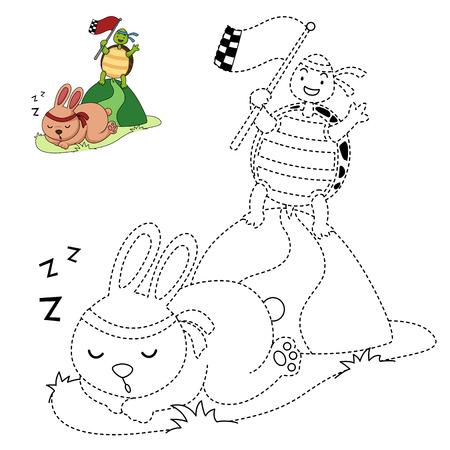 Illustration Von Bildungs-Malbuch Vektor-Schildkröte Und Kaninchen ...