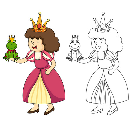 frog queen: illustration of educational coloring book vector Illustration