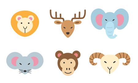 white tail deer: set of animal icon. Illustration