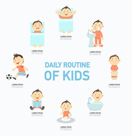 breakfast in bed: Daily routine of kids infographic,vector illustration. Illustration