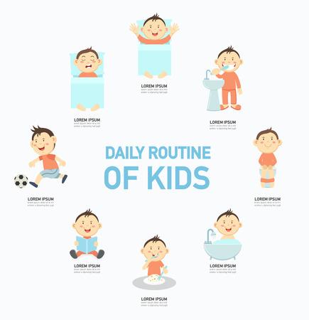 La rutina diaria de los niños de infografía, ilustración vectorial.