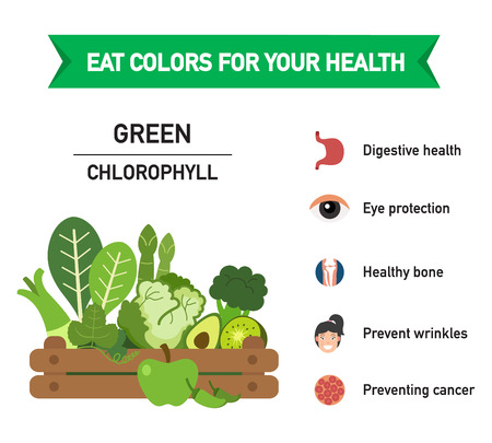 Eat colors for your health-GREEN FOOD,Eat a rainbow of fruits and vegetables,vector illustration.