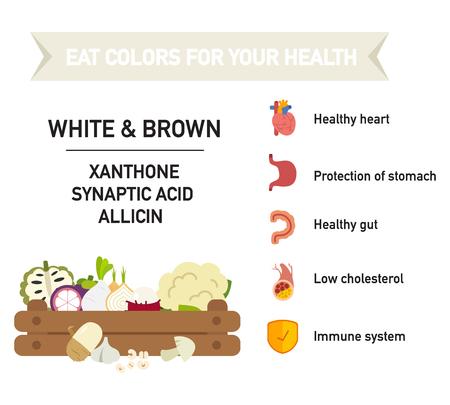 nutrientes: Coma colores para su salud ALIMENTOS-blanco y marrón, comer un arco iris de frutas y verduras, ilustración vectorial. Vectores