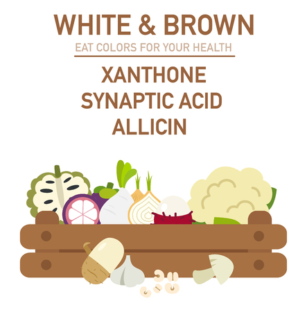 custard: Eat colors for your health-WHITE & BROWN FOOD,Eat a rainbow of fruits and vegetables,vector illustration.