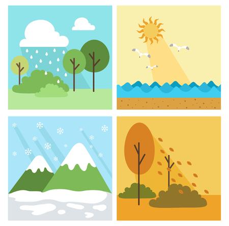 season: Four season background,vector illustration
