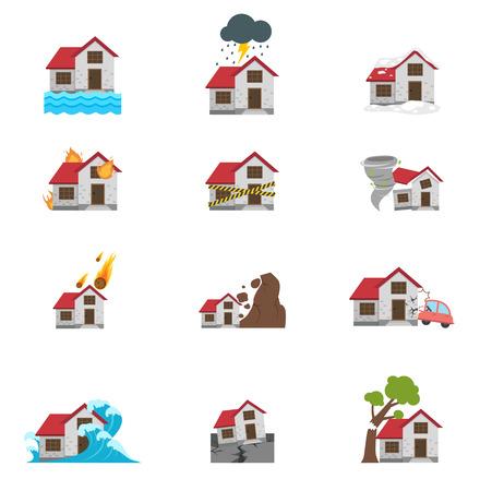 Illustration de catastrophe naturelle, icône, ensemble