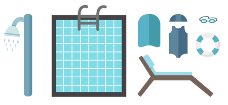 swims: Swimming pool and accessories vector