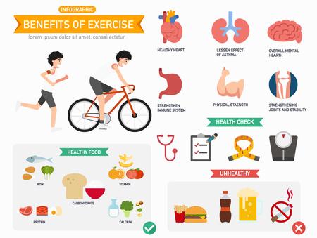 benefits: Benefits of exercise infographics.vector illustration. Illustration