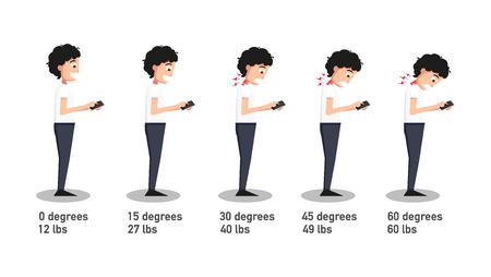 Las malas posturas de teléfonos inteligentes, el ángulo de la cabeza en relación con la presión en la ilustración spine.vector flexión.