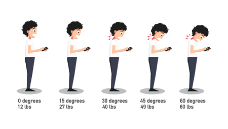 The bad smartphone postures,the angle of bending head related to the pressure on the spine.vector illustration. 版權商用圖片 - 59982760