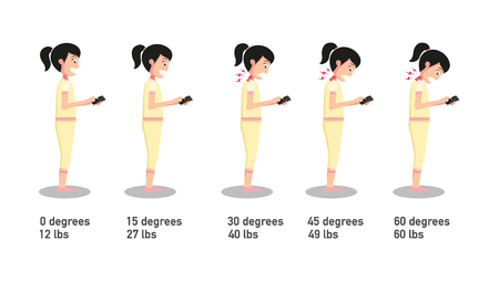 The bad smartphone postures,the angle of bending head related to the pressure on the spine.vector illustration.