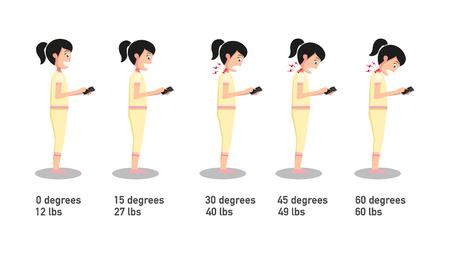 Les postures de smartphone mauvais, l'angle de la tête de cintrage liée à la pression sur la spine.vector illustration.
