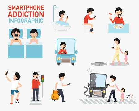 addiction: Smartphone addiction infographic.vector illustration