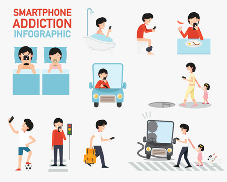 Smartphone addiction infographic.vector illustration