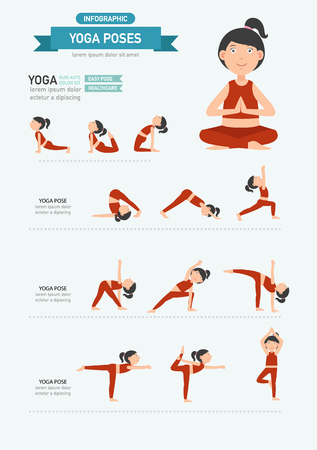 yoga class: Yoga poses infographics.vector illustration