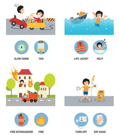 conflagration: Accident set vector illustration.
