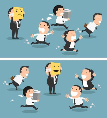 Boss veranderen zijn stemming van slecht tot goed, vector illustratie Stockfoto - 59982765