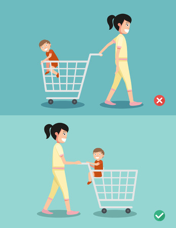 kid shopping: Danger and safety for kid sit in the shopping cart,vector illustration