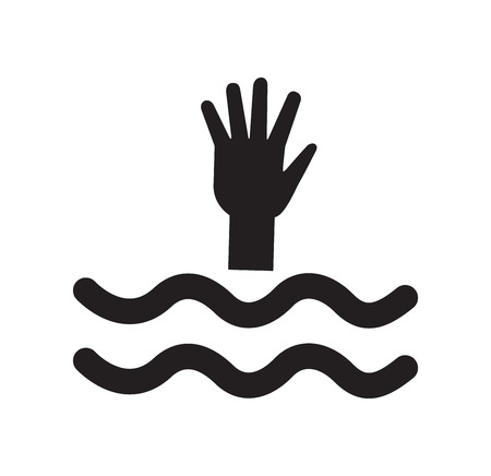 drowning: drowning icon vector Illustration