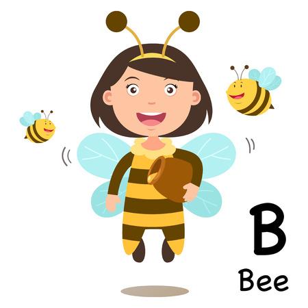 Alphabet Letter B-abeille, illustration vectorielle