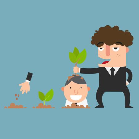 crecimiento planta: planta de hombre de negocios, ilustración vectorial