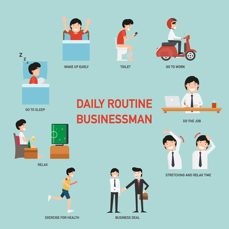 defecate: Daily routine business people infographic,vector illustration Illustration