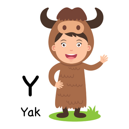 Alphabet Letter Y-yak,vector illustration 向量圖像